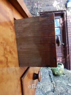 1832 Late Federal Transitional Birdseye Maple And Cherry 2 Drawer Work Table