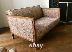 3-pc Vintage American Furniture Set, Mid-Late 1900s (Mahogany Sofas + Armchair)