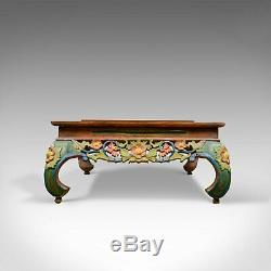 4 Foot Vintage Oriental Low Coffee Table, Hand Carved Painted Frieze, Late C20th