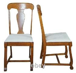 6 Antique Late Victorian Quartersawn Oak Dining Side Chairs