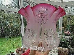 A Beautiful Late Victorian /edwardian Cranberry Etch Twin Duplex Oil Lamp Shade