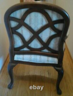A Pair Of Late 20th Century Vintage Lattice Back Thomasville Chairs Accent Chair