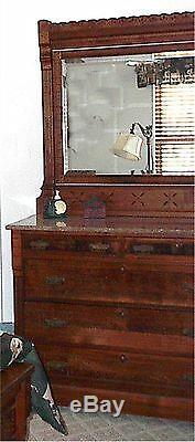 ANTIQUE EASTLAKE BEDROOM SET- LATE 1800s-BED & DRESSER withMIRROR-EXCELLENT