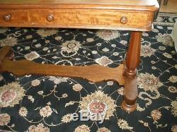 ANTIQUE ESTATE! LATE 1800'S MAHOGANY LIBRARY TABLE ON CASTERS With2 DRAWERS