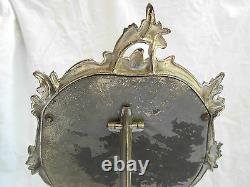 ANTIQUE FRENCH SILVERPLATED PEWTER TABLE MIRROR, LOUIS 15 STYLE, LATE 19th