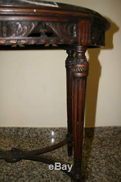 ANTIQUE LATE 19c EARLY 20c LOUIS XVI REVIVAL WALNUT w BLACK MARBLE PARLOR TABLE