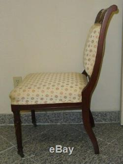 ANTIQUE LATE 19c FRENCH EMPIRE STYLE CHAIR with BRONZE MOUNTS