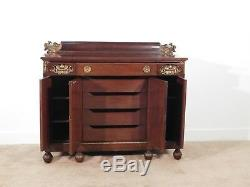 ANTIQUE Regency Late Victorian Lions Head Eagles Swans Carved Mahogany Sideboard