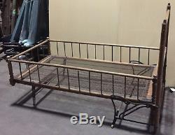 ANTIQUE YOUTH CHILD FOLDING BED WOODEN late 1800s-early 1900s BED130