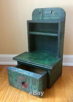 Aafa Late 1800's Primitive Wooden Miniature Wall Cupboard With Drawer