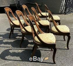American Late Classical Mahogany Gondola Chairs Matching Set of Eight / 8