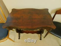 Antique 1890s Late Victorian Mahogany Scalloped & Beaded Washstand Console Table