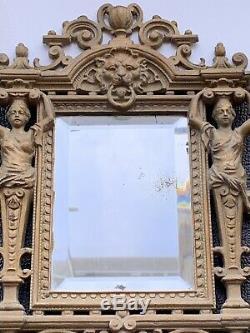 Antique 1897 Late Victorian Cast Iron Gilt Mirror Registered Design No. 299631