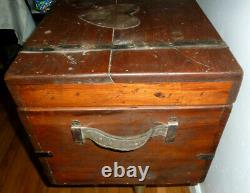 Antique 22 Wooden Trunk Chest Box Heart late 1800s To Geogia Love Sawyer 1879
