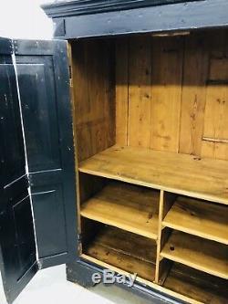 Antique American Heavy Pinewood Black 2 Door Wardrobe Armoire Late 19th Century