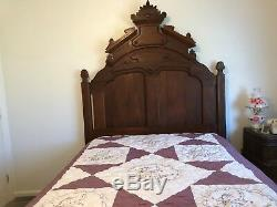 Antique Bedroom Set Walnut Bed & Dresser withMirror & Marble Victorian-Late 1800
