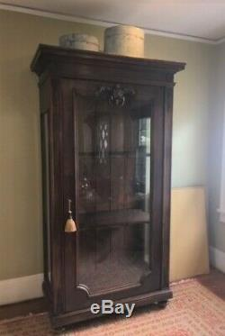 Antique Carved Walnut Glass Display/China Cabinet Late 1800s
