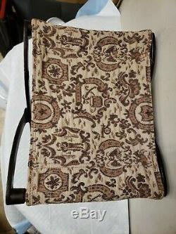 Antique Cast Iron Folding Buggy Foot Stool with Tapestry Seat Late 1800's