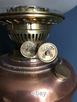 Antique Copper Oil Lamp with acid etched shade & glass chimney late 19th century