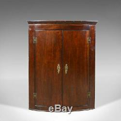 Antique Corner Cabinet, Late Georgian, Bow Fronted, Mahogany, Hanging, c. 1800