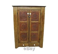 Antique Country Punch Tin Door Board Back Pie Safe Circa Late 1800's