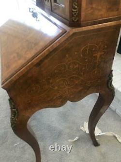 Antique Desk, Secretary, French Louis XV Style Floral Marquetry, Late 1800s