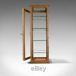 Antique Display Cabinet, Glass Shelves, English, Late 19th Century, Oak, C. 1900