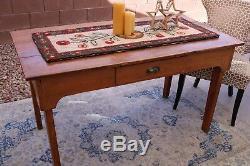 Antique Distressed Harvest Farmhouse Table Bittersweet Orange Late 1800s