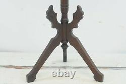 Antique EASTLAKE Carved Wood Walnut Plant Lamp Stand. 30 H Victorian C Late1800