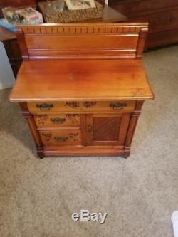 Antique Eastlake (Late 1800s) 3 Piece Bedroom Set Vanity Carved Wood Knapp Joint