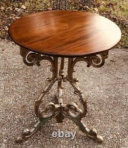 Antique English Cast Iron Mahogany Top Bistro Pub Table C. Late 19th Century