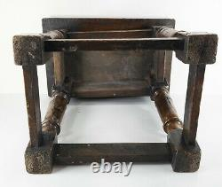 Antique English Late 17th Century Carved Oak Pegged Table Stool