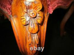 Antique English Late Georgian Hand carved Mahogany Framed Foot Stool