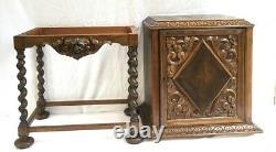Antique English Oak Carved Barley Twist Liquor Wine Cabinet C. Late 19th Century