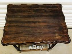 Antique English Oak Carved Barley Twist Side Table accent Table c. Late 1880's