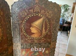 Antique Folding Room Divider ENGLAND Kings Queens Castles late 1800s