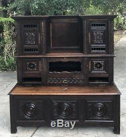 Antique French Briton Chestnut Bookcase Bench Storage c. Late 19th Century w