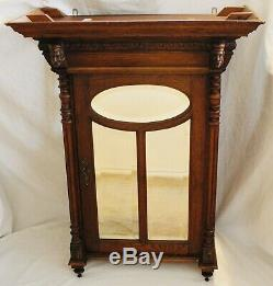 Antique French Carved Oak Hanging Beveled Glass Cabinet C. Late 19th Century