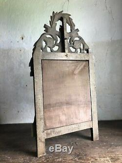 Antique French Carved Wood Gilt Pediment Mirror. Late 19th Century 1900