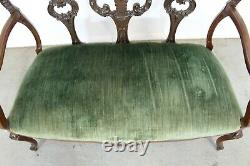 Antique French Carved Wood Settee Bench circa late 1800s