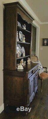 Antique French Country Hutch Buffet Provence Hand Carved Petite late 1800's