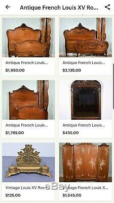 Antique French Louis XV Rococo Bed Set Late 1800's