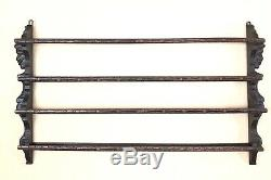 Antique French Oak Carved Hanging Plate Rack Carved Faces c. Late 19th Century
