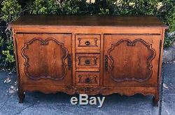 Antique French Oak Carved Louis XV Sideboard Buffet Server late 19th Cent. HQ
