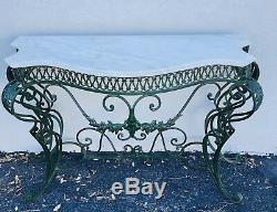 Antique French Wrought Iron Marble Top Entry Way Console Table late 19th Century