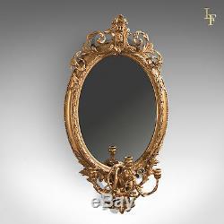Antique Girandole Gilt Gesso Mirror, Wall, Vanity, Rococco, Late Georgian c. 1800