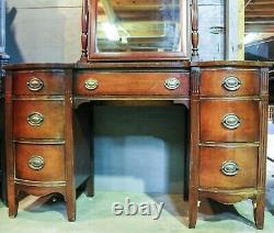 Antique Hepplewhite Style Late 19th c. Mahogany Vanity Desk with Mirror