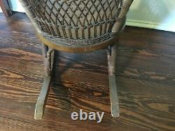 Antique Heywood Brothers & Co Childs Wicker Rocking Chair, late 1800s