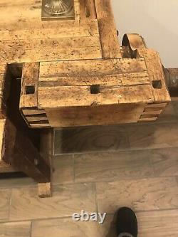 Antique Late 1800's Carpenters Woodworkers Wood Bench 2 Vises
