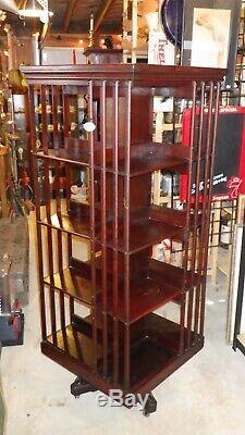 Antique Late 1800's John Danner Post Revolving Bookcase Library 61 Tall RARE